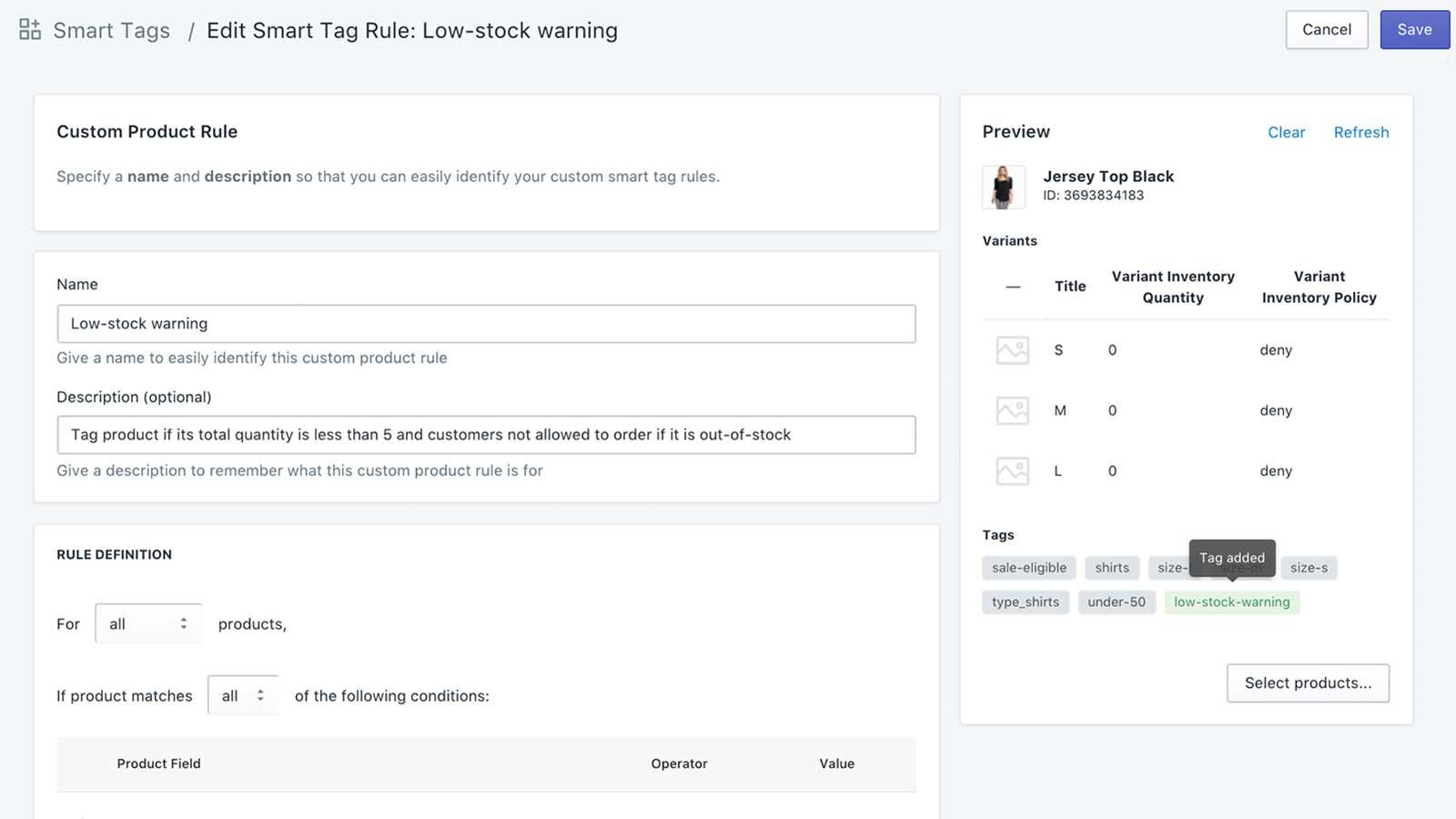 Smart Tags Example Screenshot